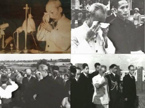 Sự nghiệp vĩ đại của Hồ Chí Minh, có trên 101 kiểu khóc khác nhau, tuy nhiên  chưa bao giờ khóc vì cha mẹ và anh chị em. Khóc chuyên nghiệp ở bất cứ nơi  nào, khóc cải cách ruộng đất, khóc tại nghĩa trang Paris, khóc tại Liên xô, nước  mắt của Hồ cộng sản, khó ai biết được thực hư. Nguồn: Hoa Nam.