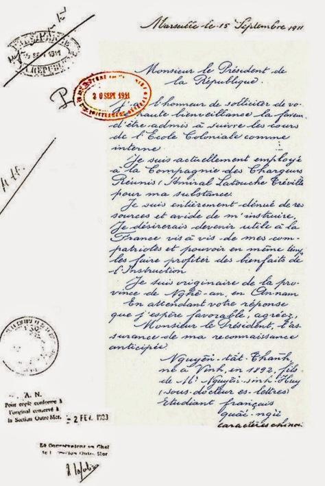Bút tích của Nguyễn Tất Thành xin học Trường Thuộc Địa Pháp (1911). Nguồn: Trường thuộc địa Pháp.