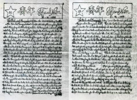 Hồ Chí Minh để lại bút tích, trên hai tờ báo Thanh Niên, phát hành tại Quảng Châu Trung Quốc vào ngày 28/11/1926 và 5/12/1926. Nguồn: Hoa Nam và Viện bảo tàng Hồ Chí Minh Hà Nội.