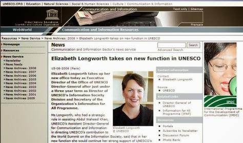 Những hoạt động và vai trò cuả Bà Ms. Elizabeth Longworth ( UNESCO )