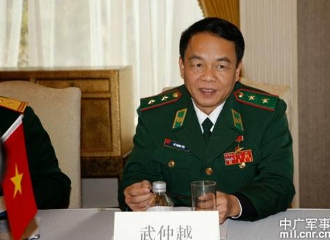 Trung tướng chỉ huy biên giới Võ Trọng Việt (武仲越), Bộ Quốc phòng Việt Nam. Tên lại được ghi theo tiếng Hán. Nguồn: Cục quản lý Biên phòng Trung Quốc.