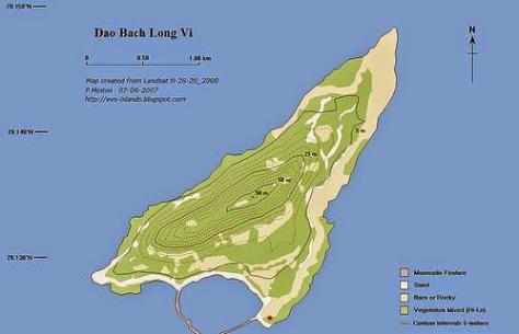 """Bản đồ vùng đảo Bạch Long Vĩ, có làng chài Bạch Long Vĩ màu dấu đỏ, theo: """"Pháp Thanh Tân Ước năm 1885"""" còn ghi rõ. Nguồn: Pháp Thanh Tân Ước."""