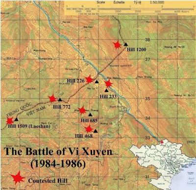 Chúng tôi hình dung trước những bước chân sẽ đến cao điểm Lão Sơn và Vị Xuyên, hai địa danh chiến trường Việt-Trung vẫn tiếp tục đẫm máu không phân biệt binh sĩ tử vong! Nguồn: Hải Âu 海鸥DF-1, Q:14.