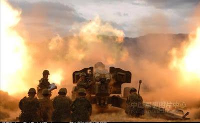 Pháo binh của Sư đoàn 199 Trung Quốc tại núi 177 Lão Sơn. Ảnh: NF3.86.