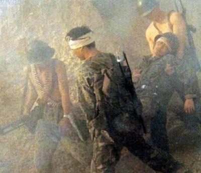 Binh sĩ Sư đoàn 67 Trung Quốc bị trọng thương. Ảnh: NF3.86.