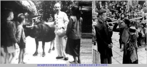 Hồ Chí Minh thăm bà con nông thôn các dân tộc tỉnh Tuyên Quang và khuyến khích trong phong trào cải cách ruộng đất đấu tố nông dân 1945. Nguồn: tài liệu Huỳnh Tâm.