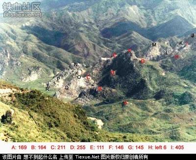 Nguồn: Bản phụ của đồ hình trên, ghi lại những điểm nóng chiến trường Lão Sơn, do Bộ chỉ huy quân sự Vân Nam thực hiện.