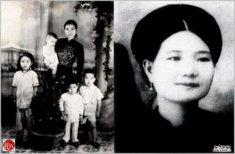 Bà Nguyễn Thị Năm (Cát Hanh Long) và các con của bà. Nguồn: tài liệu Huỳnh Tâm.