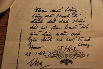 Bút tích của ông Lê Đức Thọ