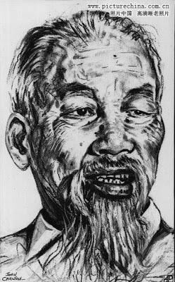 Chân dung Hán (Hồ Chí Minh) vẽ bởi họa sĩ John Carlton. AP Wirephoto lưu (d41850) 1969. Nguồn: Hoa Nam.