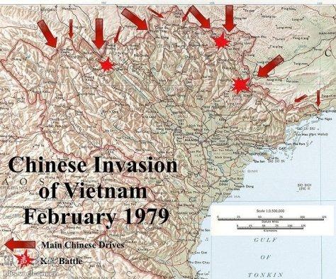 Cuộc xâm lược của 10 Quân đoàn, Quân Giải Phóng Nhân Dân Trung Quốc trong lãnh thổ Việt Nam, tháng 2/197917/20/1979. Nguồn: Hoa Chí Cường.