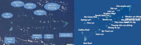 Quần đảo Trường Sa, Trung Cộng xâm chiếm 7 đảo chiến lược quan trọng có khả năng thông tính miền Nam Việt Nam. Nguồn: tài liệu Huỳnh Tâm.