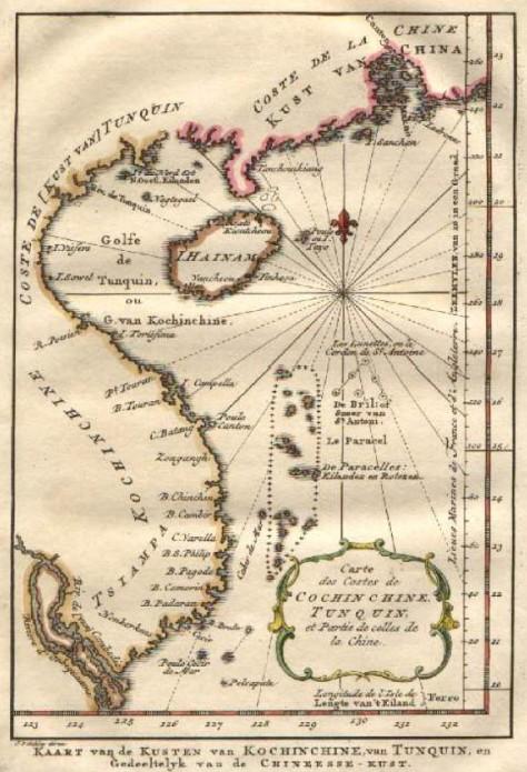 Bản đồ Biển Đông do người Hà Lan vẽ vào năm 1754 ghi nhận quần đảo Hoàng Sa dưới tên De Paracelles. (Trong giới hạn quần đảo De Paracelles, có 2 nhóm đảo, nhóm đảo phía nam tách rời (không được ghi chú) có hình dạng và vị trí tương đối giống với nhóm đảo Vạn lý Trường Sa của Đại Nam nhất thống toàn đồ). Nguồn: tài liệu Huỳnh Tâm.