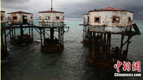 Nhà giàn trên rạn san hô Mỹ Tể (Mischief Reef) quần đảo Trường Sa Biển Đông. Nguồn: Tài liệu Huỳnh Tâm.