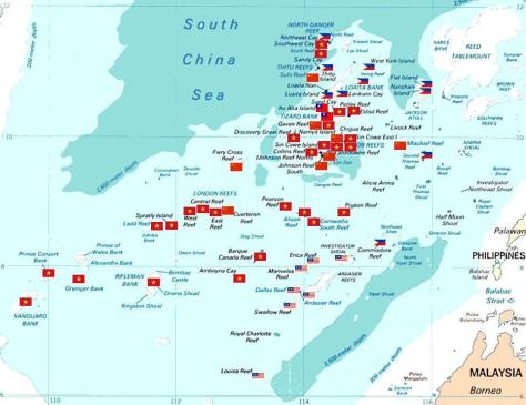 Tình trạng chiếm đóng quần đảo của các nước Nguồn: tài liệu Huỳnh Tâm.