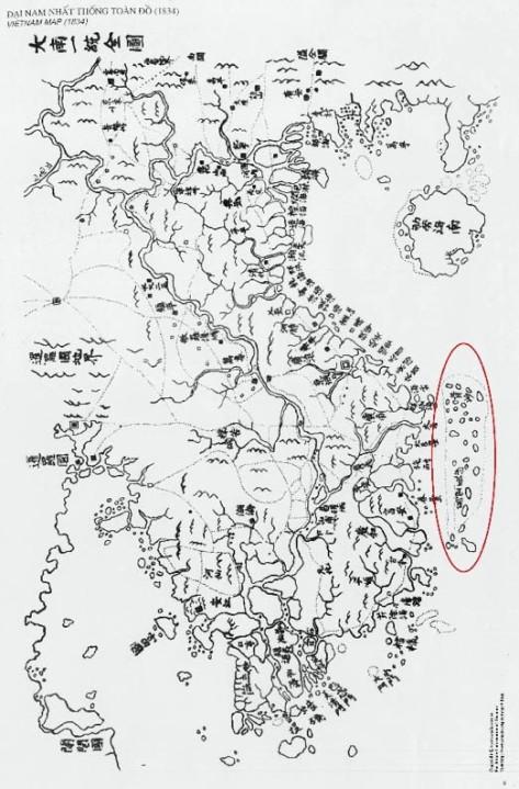 Chứng cứ của Việt Nam Cộng Hoà - Đại biểu đồ thống nhất chí Trường Sa gần đất liền Việt Nam. Nguồn: tài liệu Huỳnh Tâm.