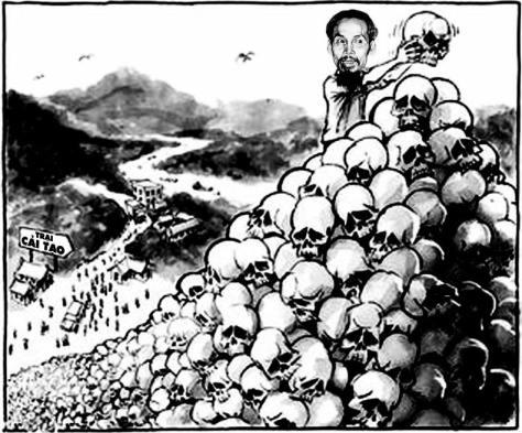 """Trong vòng 75 năm qua (1940-2015) đảng """"Bác"""" của chúng cháu chống lại nhân loại và giết nhân dân Việt Nam. Xương trắng máu người loan cả Trường Sơn cho đến ngày nay vẫn chưa dừng tay. Nguồn: Tài liệu Huỳnh Tâm. Hồ Chí Minh, giết nhân dân Việt Nam với tổng số trên 2,9 triệu người trong vòng 29 năm (1940-1969), tội ác lớn nhất: Chiến tranh Bắc-Nam (1945-1975), Cải Cách Ruộng Đất ở miền Bắc (1953-1956) và cướp tài sản của nhân dân miền Nam."""