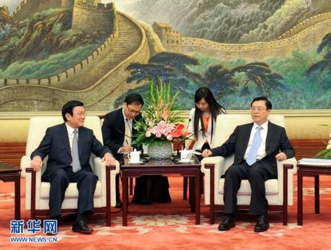 Hai họ Trương, Chủ tịch nước Việt Nam Tấn Sang, yết kiến Chủ tịch Quốc hội Trung Quốc Đức Giang (张德江). Nguồn: THX.