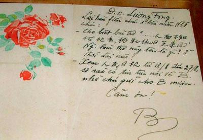 """Lá thư của """"Bác"""" gửi cho ông Lương Phong vào ngày 01 tháng 6 năm 1961. Nguồn tài liệu Huỳnh Tâm."""