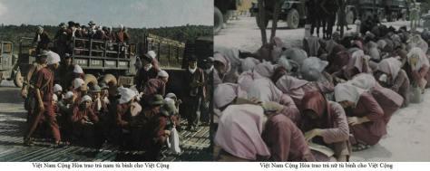 Nữ tù binh Việt Cộng lấy khăn che kín mặt tại sân trại giam Cần Thơ. Nguồn: tài liệu Huỳnh Tâm.