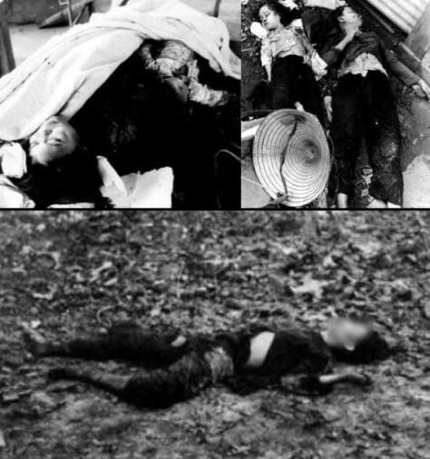 Phụ nữ, trẻ em và dân quân Việt Nam bị Trung Cộng thảm sát trong ngoài động Thạnh Sơn. Nguồn: Lịch sử diễn đàn Trung Quốc. [2]