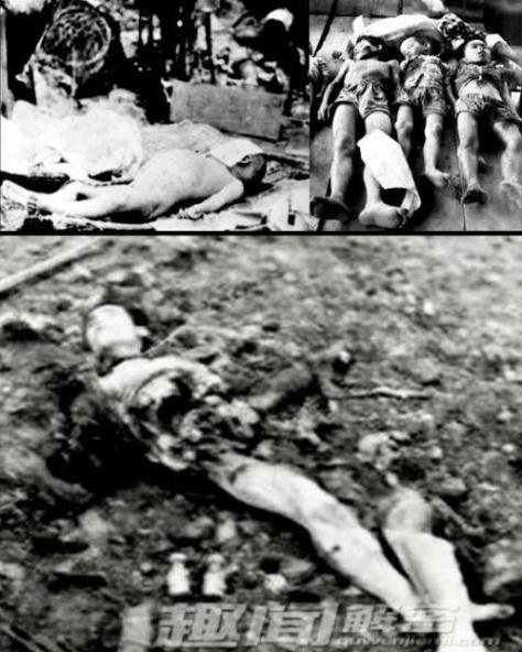 Quân Trung Cộng không tha bất cứ già trẻ, giật sập cửa động, dùng khí độc, chất hóa học thả xuống các lỗ thông hơi giết sạch mọi người trong động. Nguồn: Lịch sử diễn đàn Trung Quốc.