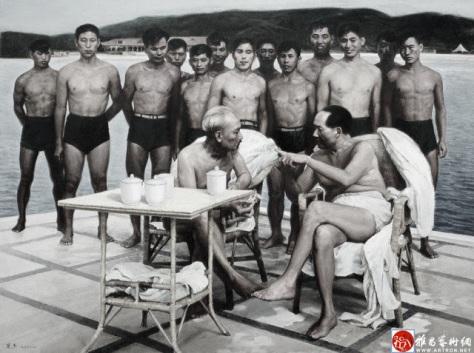 Hồ Chí Minh và Mao Trạch Đông nghỉ mát tắm biển Bắc Đái Hà (北戴河). Hình chụp tháng 6 năm 1958. Nguồn: Tài liệu Huỳnh Tâm.