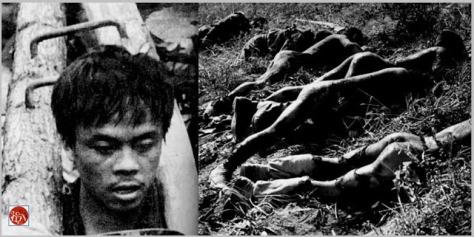 Lần đầu tiên trên chiến trường cao điểm 1509, chúng tôi thấy một tù binh Việt Nam đóng gông gỗ nặng hơn sức người và những binh sĩ chết cháy đen vì bom săng. Nguồn: Tài liệu ảnh lưu: Huỳnh Tâm.